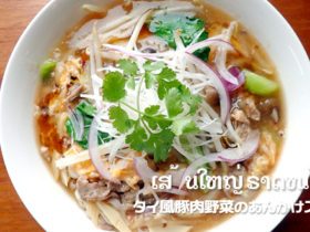 タイ風豚肉野菜のあんかけスープ麺