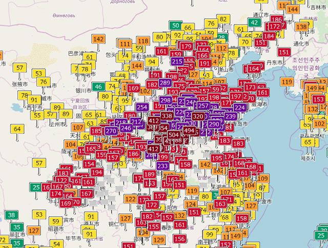 中国の大気汚染指数