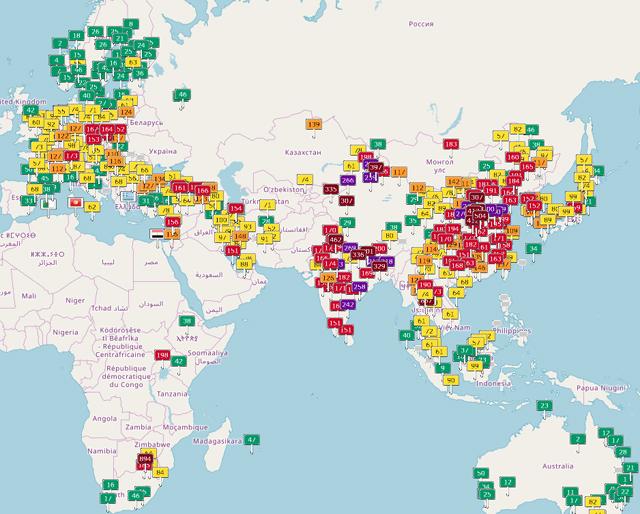 世界の大気汚染指数