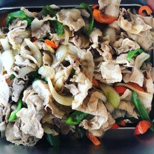 タイスタ丼の豚野菜炒め