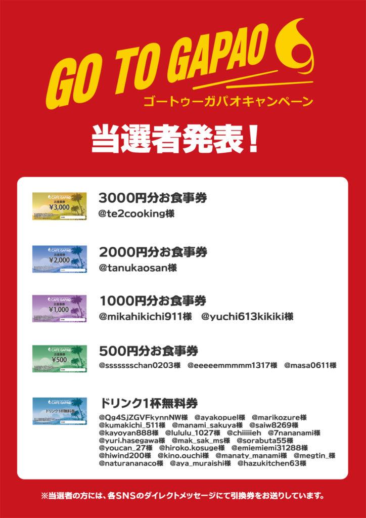 『Go To Gapao キャンペーン』の当選結果